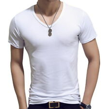 Mens Round Neck T-shirt Stretch Slim Fit Short Sleeve Casual Plain Base Tee Tops