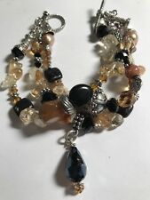 Triple Strand Multi Stone Bracelet, Tibetan Silver, Onyx, Crystal, Amber, Pearl