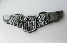 PRIVATE PILOT AIRCRAFT CIVILIAN LARGE PEWTER WINGS LAPEL PIN BADGE 2.8 INCHES