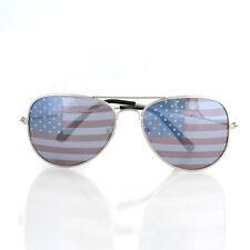 American USA Flag Aviator Sunglasses Patriotic United States Stripes Silver
