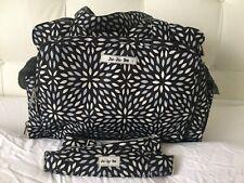 Ju Ju Be Be Prepared Black White Platinum Petals Print Large Nappy Bag EUC