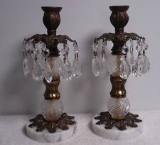 Vtg French Provincial Brass Candle Stick Holder w/ Teardrop glass Prisms/marble
