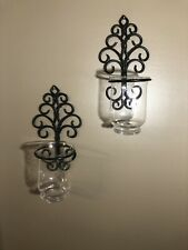 Traditional Set of 2 Black Metal Scroll Wall Sconces Candle Holders Decor Glass