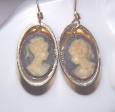 Vintage Resin Cameo Earrings Lady Profile Dangle Gold Plated Setting