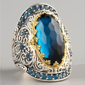 AU Fashion Unisex Silver Plated Blue Oval stone Vintage Style Ring Jewelry gift