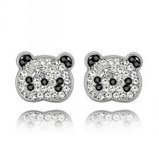 GORGEOUS 18K WHITE GOLD PLATED AND AUSTRIAN CRYSTAL PANDA BEAR EARRINGS