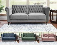 Velvet Sofa Bed Chesterfield Style 3 Seater Green Blue Grey Sofa Button Design