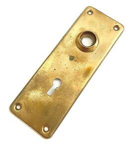 "Vintage Brass Door knob Backplate Salvage Hardware 5 3/4"" x 2"" (holes 2 1/2"")"