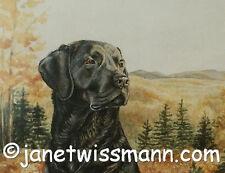 FINE ART WATERCOLOR PAINTING PRINT Labrador Retriever Black Lab golden mountains