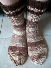 Hand knitted cozy 100% wool socks, desert brown