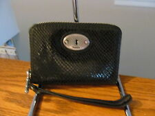 Authentic Fossil Black Leather Snake Embossed Wristlet Wallet New In Box