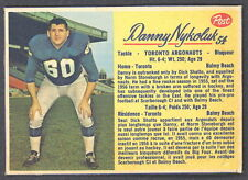 1963 POST CFL 54 DANNY NYKOLUK TORONTO ARGONAUTS EX
