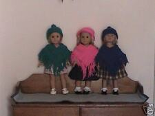 """Pink Poncho and Hat Set  for 18"""" AG Doll"""