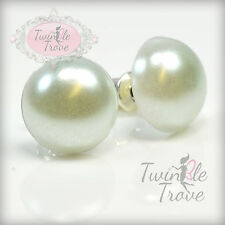 12mm Faux Half Pearl Stud or Clip-on Earrings. Silver Plated. Rainbow Colours