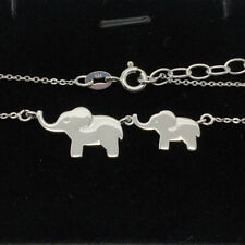 925 Sterling Silver Elephant Necklace Mummy Baby Gift Present Cute Solid Silver