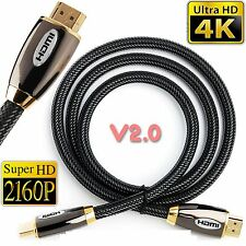 PREMIUM BRAIDED V2.0 HDMI Cable Ultra HD TV 2160p 4K UHD High Speed Gold Plated