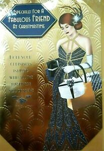Art Deco - Fabulous Friend - Large Golden Christmas Card