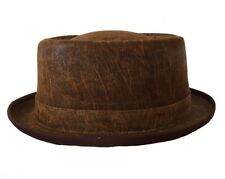 DISTRESS BROWN LEATHER SOHO PORK PIE HAT (KH101)