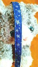 Cat Collar Handmade, Silver Stars On Dark Royal Blue Fabric