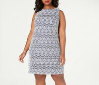 Jessica Howard Womens Plus 16W Periwinkle Blue Sleeveless Lace Shift Dress NWT