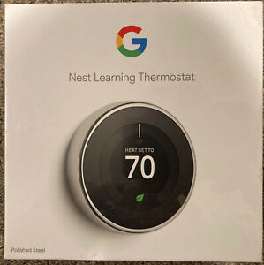 Google Nest Learning Thermostat Smart Wi-Fi 3rd Gen - Polished Steel T3019US
