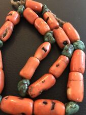 Turquoise Nugget Barrel Necklace Beads Vintage Antique Chinese Tibetan Coral And