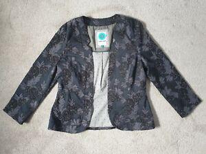 WHITE STUFF Ladies Jacquard Floral Jacket In Nightfall Navy - Size 12