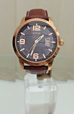 Guess Mens Brown Leather Date Watch Rose Gold Case Genuine (p112)