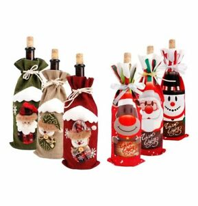 Bottle Cover Bags Holders Christmas Decorations Santa Claus Table New Year Gift