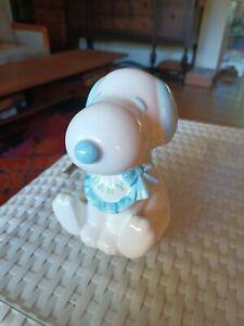 VTG Schmid Peanuts Blue Baby Snoopy Ceramic Figurine Rotating Lullaby Music Box