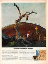 Vintage advertising print Gas Oil Ethyl Corp Southern Oregon Lava Beds Volcano