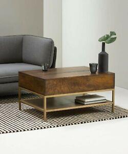 LomondLift Top Coffee Table with Storage, Dark Mango Wood & Brass RRP £329