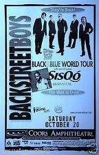 """BACKSTREET BOYS/SISQO 'BLACK BLUE WORLD TOUR"""" 2001 SAN DIEGO CONCERT TOUR POSTER"""