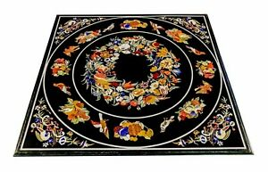 """48"""" Marble center dining Pietra Dura stones handmade floral Inlay Table Top"""
