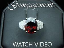 4.66ct Purplish Red Zircon 14K Ring .20ctw 30 Round Diamonds Engagement VIDEO