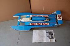 VINTAGE LARGE DUMAS ATLAS VAN LINES WOODEN RC CONTROLLED JET BOAT - APPROX 48""