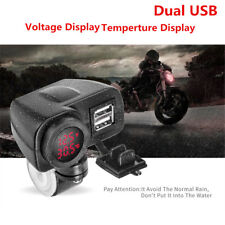 Motorcycle 2.1+2.1A Digital Red LED Voltmeter Gauge+Thermometer+Dual USB Charger
