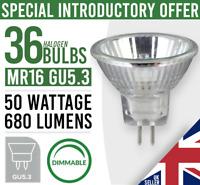 36x  MR16 GU5.3 50W HALOGEN DIMMABLE LIGHT BULB LAMP 12V - New Pack of 36