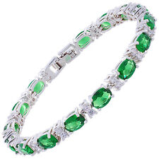 Oval Green Emerald Zirconia CZ Tennis Bracelet White Gold Filled Gift 7""