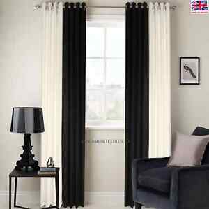 RING TOP FULLY LINED 2 TONE BLACK/CREAM READY MADE PAIR EYELET CURTAINS FREE P&P
