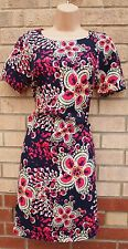 PRIMARK NAVY BLUE PINK JEWEL FLORAL ZIP BACK BODYCON TUBE PENCIL DRESS 8 S