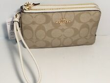 Coach F87591 Double Corner Zip Wallet Wristlet Signature PVC Khaki Saddle 95
