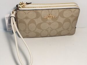NWT Coach F87591 Chalk Double Corner Zip Wristlet in Signature Coated Canvas
