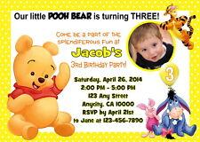 WINNIE THE POOH CUSTOM PRINTABLE BIRTHDAY PARTY INVITATION & FREE THANK U CARD