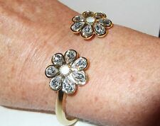 """Bracelet, Charter Club, Gold Tone, Hinged Bangle with Crystal Flowers 7"""" NWT"""
