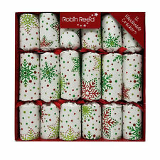 """Robin Reed English Holiday Christmas Crackers Pack of 12 x 10"""" Glitter Snowflake"""