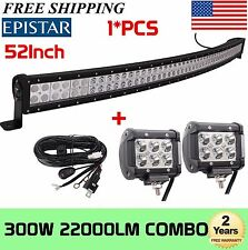 52Inch 300W LED Curved Light Bar Spot Flood Combo UTV SUV+2X 18W Pods+Wiring Kit