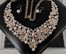 Oversize Statement Wedding Vintage Gold Rhinestone Crystal Pearl Bib Necklace