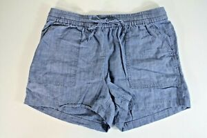 J.Crew Factory Pull On Blue Chambray Drawstring Shorts S AL589