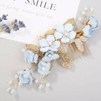 Wedding Bridal Pearl Crystal Flower Hair Pins Clips Bridesmaid Side Comb Jewelry